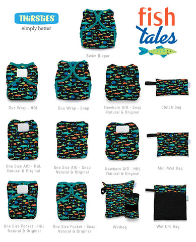 Print charts of all styles of Fish Tales by Thirsties. Fish Tales is available in cloth diapers, wet bags, and swim diapers. The print has brightly colored orange, blue, and green fish on a black background with teal trim