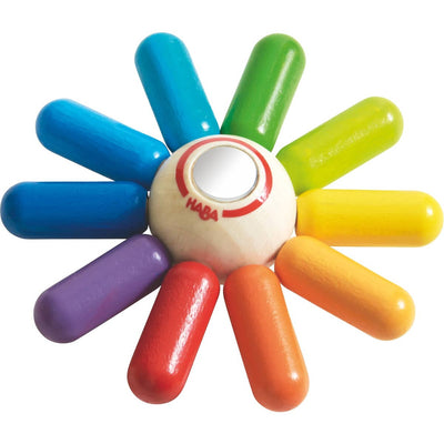 Rainbow Sun Clutching Toy. Wood toy by Haba. Made in Germany