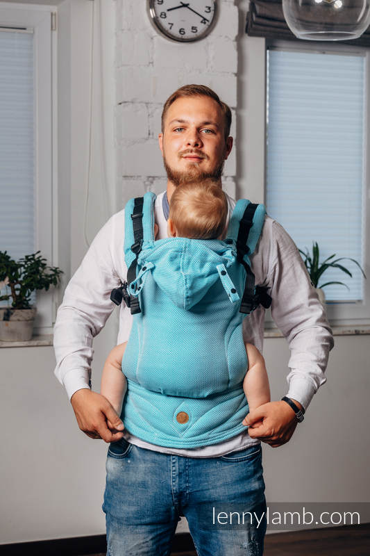 LennyGo Ergonomic Carrier, Little Herringbone Turquoise