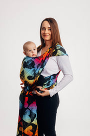 Long Woven Wrap, Lovka Rainbow Dark