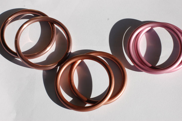 hand-buffed Rose Gold (left), bronze (center), rose (right)