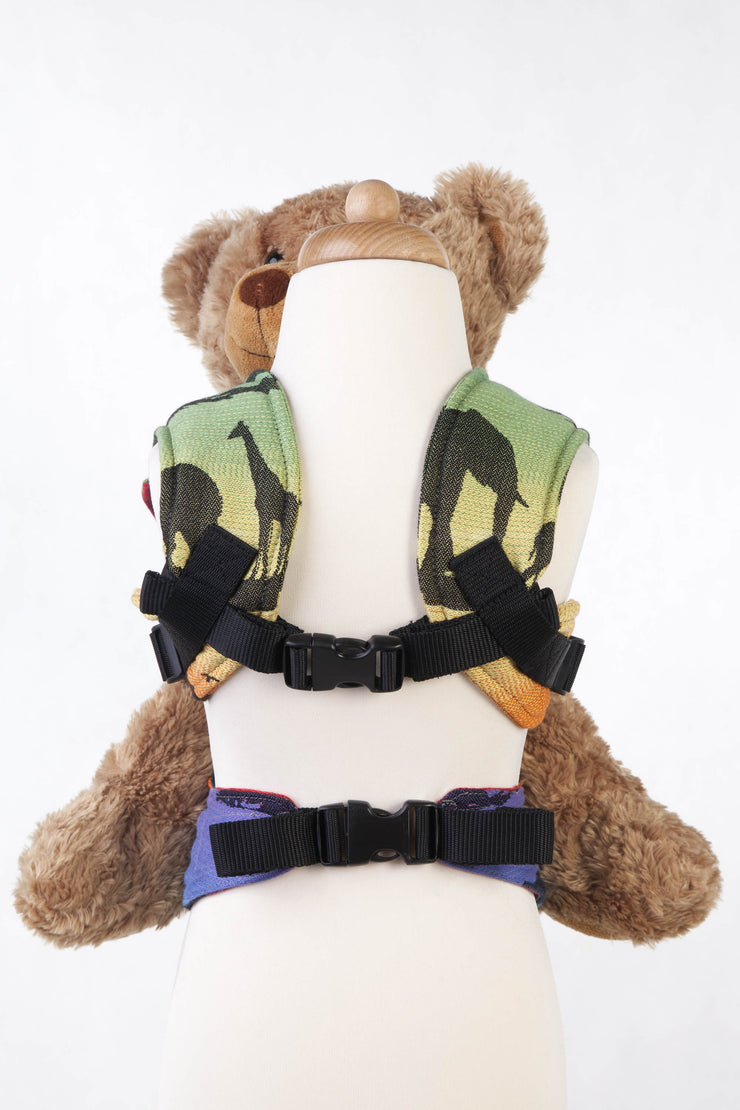Lenny Lamb Rainbow Safari 2.0 Doll Carrier with pocket, holding teddy bear, chest clip and waistband clip