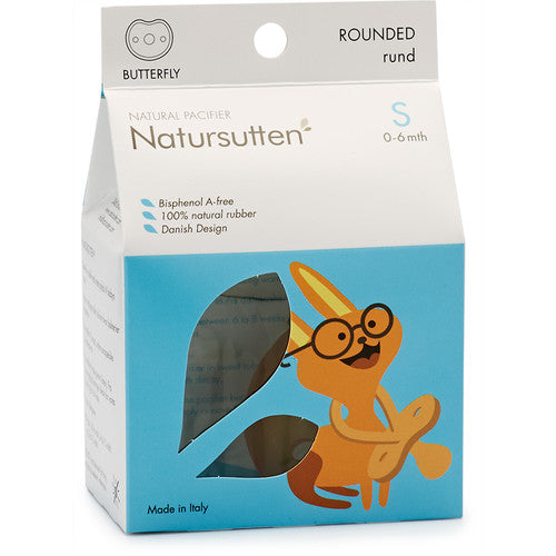 Natursutten rubber Butterfly pacifier in box. Made in Italy.