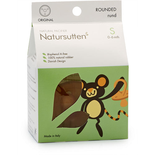 Natursutten rounded rubber Original pacifier, size Small, in box. Made in Italy.