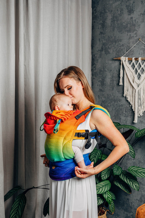 kissing baby. Lenny Lamb brand soft structured baby carrier (SSC) the LennyGo in print Rainbow Baby