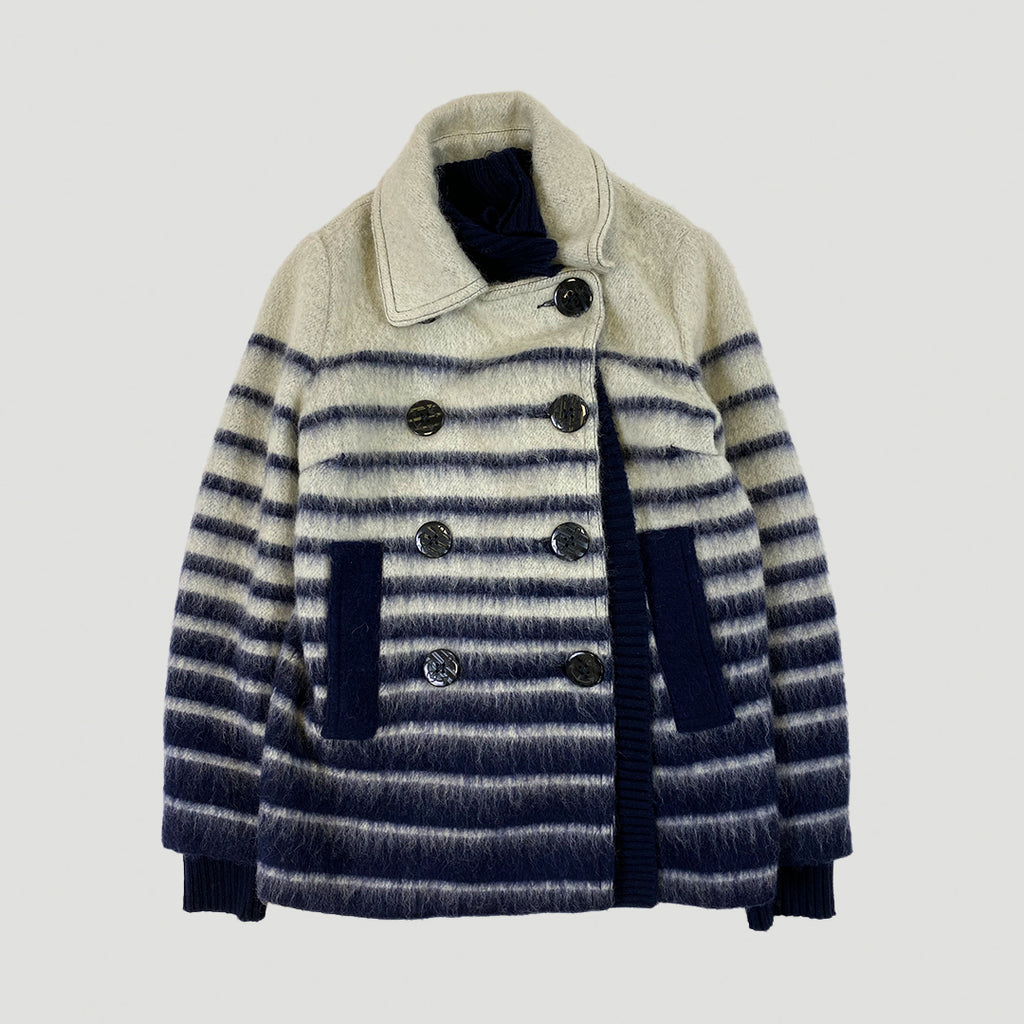Jean Paul Gaultier Lindex Striped Wool Pea Coat