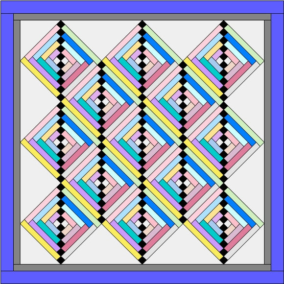 Streak of Lightning Quilt Block On Point Layout