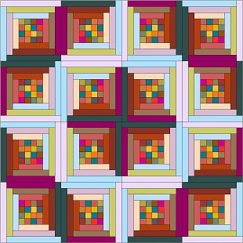 Four Patch Log Cabin Quilt Layouts