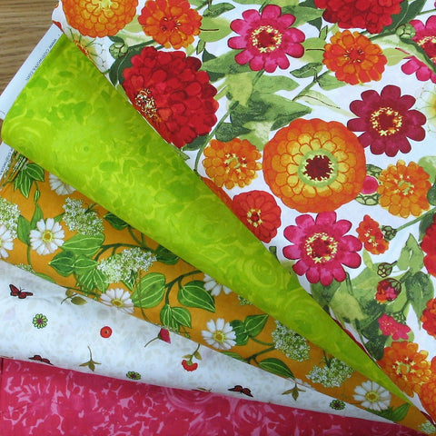 zinnias in bloom fabrics