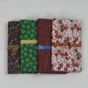 burgundy green pink black fabric bundle