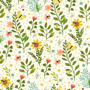 Bug Floral in Cream - Pink, Yellow and Green Floral on Cream from Garden Notes Collection by Diane Neukirch for Clothworks