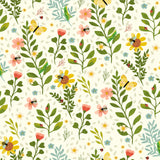 4 Floral Fabrics which includes a Panel from the Garden Notes Collection by Diane Neukirch for Clothworks
