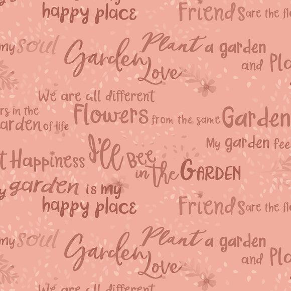Notes Sayings in Dark Coral - Text Tone on Tone Blender from Garden Notes Collection by Diane Neukirch for Clothworks