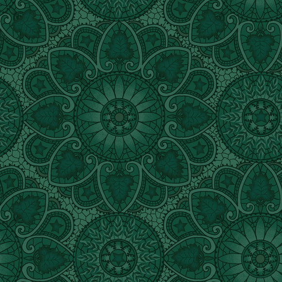 Kim Diehl October Morning Collection, Autumn Mandala in Teal for Henry Glass Fabrics, Cotton Quilt Fabric by the Yard