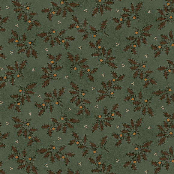 Kim Diehl October Morning Collection, Acorn Branches in Teal for Henry Glass Fabrics, Cotton Quilt Fabric by the Yard
