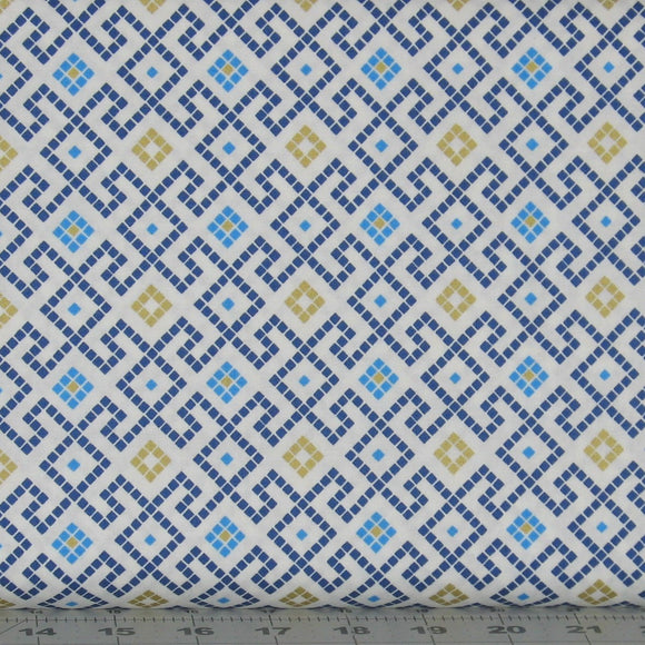 Blue, Teal and Metallic Gold Check Fabric in a Greek Key Design from the Lindos Metallic Collection by Lewis & Irene
