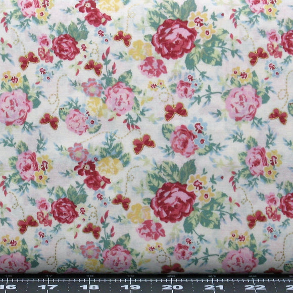 Red, Pink & Yellow Flowers with Green Leaves on White, Cotton Quilt Fabric for Sale, Woodland Rose Collection by Jera Brandvig, 31800-10