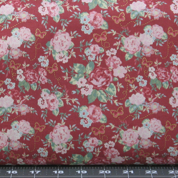 Pink & Blue Flowers with Green Leaves on Red Background, Cotton Quilt Fabric for Sale, Woodland Rose Collection by Jera Brandvig, 31800-30