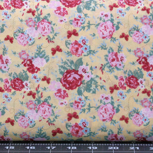 Red & Pink Flowers with Green Leaves on Yellow, Cotton Quilt Fabric for Sale, Lecien's Woodland Rose Collection by Jera Brandvig, 31800-50