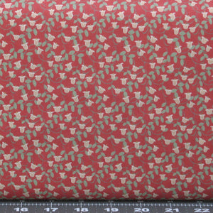 Small Pink Flowers with Green Leaves on Red Background, Cotton Quilt Fabric for Sale, Woodland Rose Collection by Jera Brandvig, 31803-30