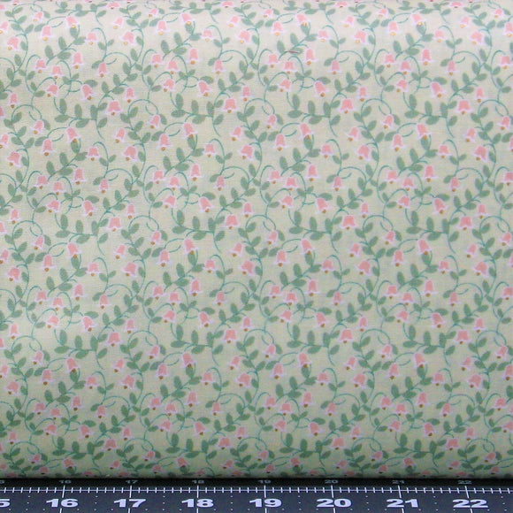 Small Pink Flowers and Green Leaves on Light Green, Cotton Quilt Fabric for Sale, Woodland Rose Collection by Jera Brandvig, 31803-60