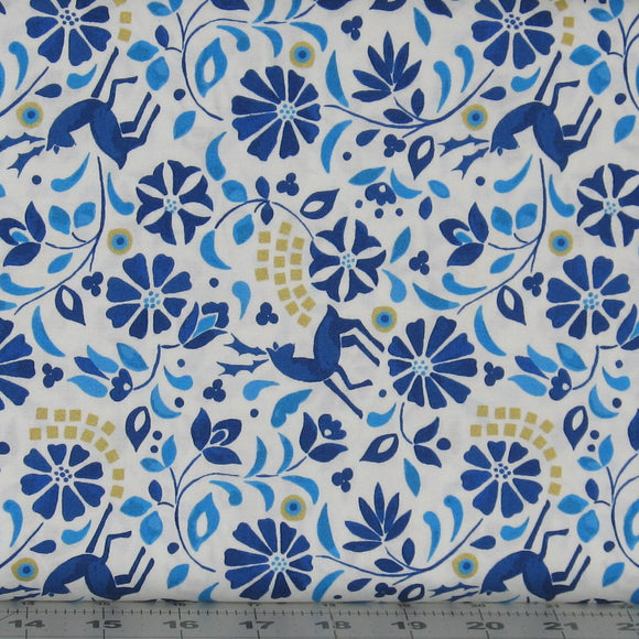 Blue, Teal, Gold and White Floral Fabric from the Lindos Metallic Collection by Lewis & Irene