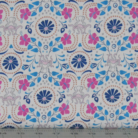 Blue, Teal, Pink, Gold and White Floral Fabric from the Lindos Metallic Collection by Lewis & Irene