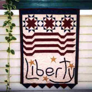 Patriotic Quilted Banner Kit with Shadow Play Fabrics by Maywood Studio and Liberty Pattern Plus Notions, Batting, and Backing