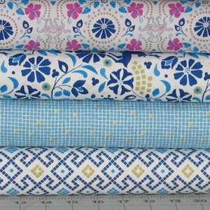 Four Blue, Teal, Pink and White Quilting Fabrics from the Lindos Metallic Collection by Lewis & Irene Fabrics