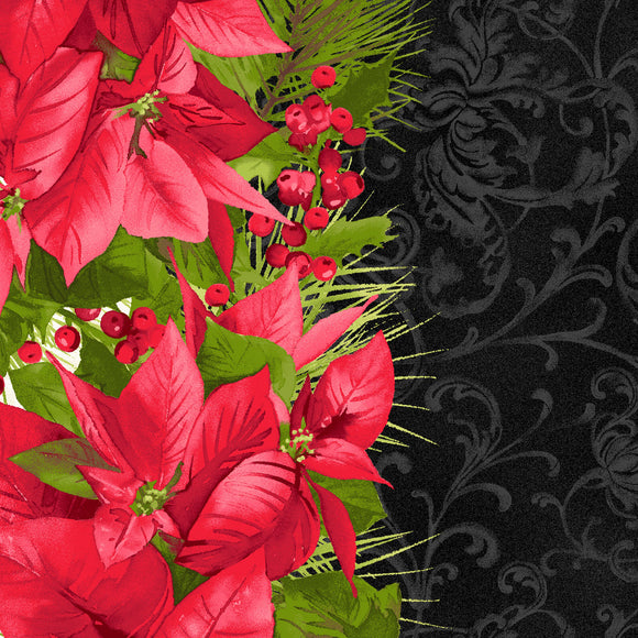 Poinsettia Mixed Stripe in Black, Christmas 100% Cotton Quilt Fabric, Poinsettia & Pine Collection by Maywood Studio, 9121-J