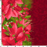 Poinsettia Mixed Stripe in Red, Christmas 100% Cotton Quilt Fabric, Poinsettia & Pine Collection by Maywood Studio, 9121-R