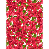 Packed Poinsettia in White, Christmas 100% Cotton Quilt Fabric, Poinsettia & Pine Collection by Maywood Studio, 9122-E