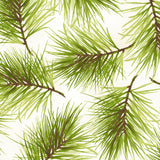 Fresh Pine in White, Christmas 100% Cotton Quilt Fabric, Poinsettia & Pine Collection by Maywood Studio, 9124-E