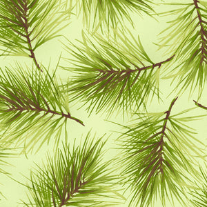 Fresh Pine in Green, Christmas 100% Cotton Quilt Fabric, Poinsettia & Pine Collection by Maywood Studio, 9124-G