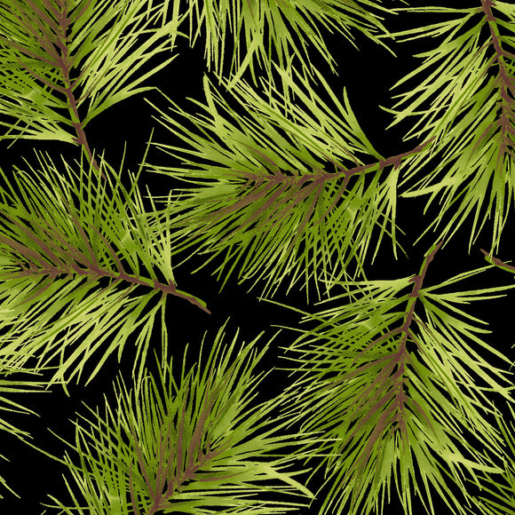 Fresh Pine in Black, Christmas 100% Cotton Quilt Fabric, Poinsettia & Pine Collection by Maywood Studio, 9124-J