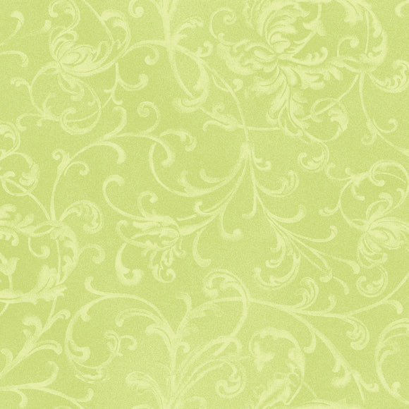 Light Green Tone on Tone Scroll Christmas 100% Cotton Quilt Fabric, Poinsettia & Pine Collection by Maywood Studio, MAS9126-LG