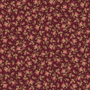 vintage calico in maroon