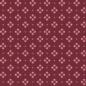 Pink Floral with Cream Dots on Maroon Background called Foulard Dot in Maroon from the Burgundy & Blush Collection by Maywood Studio, 9366-M