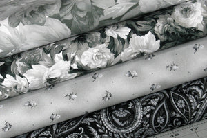 4 Beautiful Black, Gray and White Floral and Paisley Fabrics for Sale, Nocturne Collection by Maywood Studio, Cotton Quilt Fabric Bundle