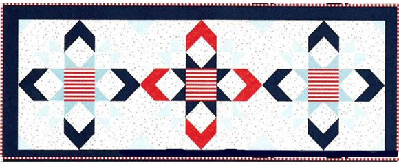 Stars & Stripes Table Runner of the Month Club from Riley Blake Fabrics, Includes Fabric for Top and Binding Plus the Pattern