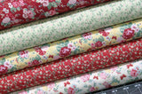 Five Floral Fabrics in Pink, Red, Yellow, Green and White from Lecien's Woodland Rose Collection by Jera Brandvig, Quilt Fabric Bundle
