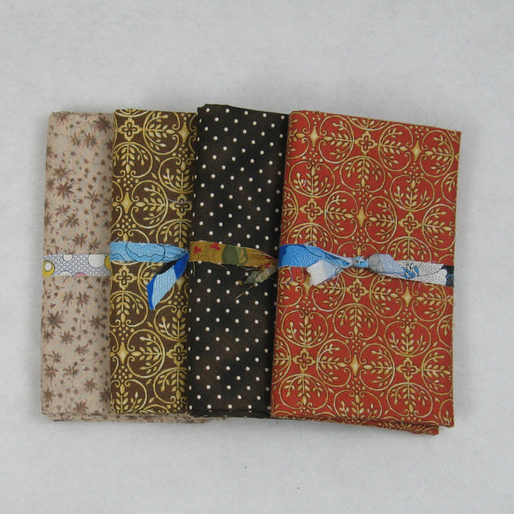 brown gold rusty red tan fabric bundle
