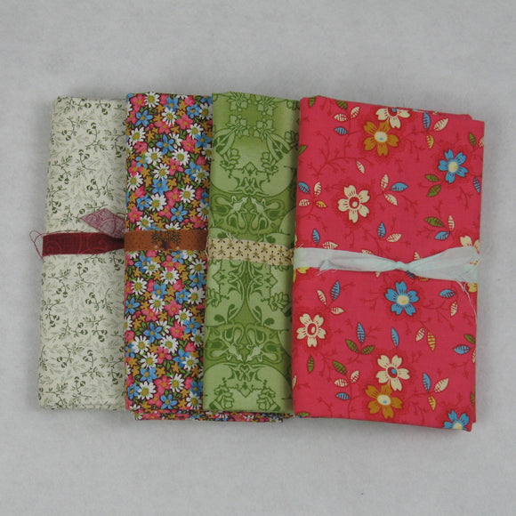 green pink ivory brown fabric bundle