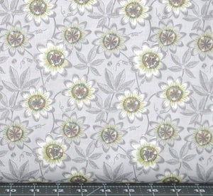 Gray and Green Floral on a Light Gray Background from The Botanist Collection by Lewis & Irene, A124-2