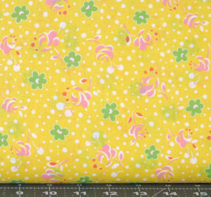 Green and Pink Flowers with White Dots on Yellow from Retro 30's Child Smile Collection by Lecein Fabrics, 31143-50