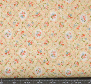 Orange, Blue and Green Floral on Light Yellow from Garden Path Collection by Cosmo Textile