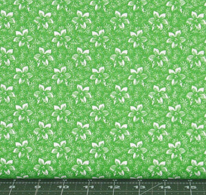 White Floral on Green Background Fabric Blender from Marshall Dry Goods, Calico-70