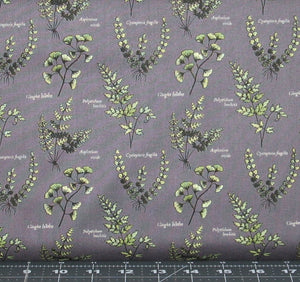 Green Floral on a Dark Gray Background from The Botanist Collection by Lewis & Irene, A121-3