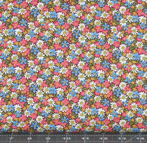 Pink, Blue, Gold, Green, and White Floral on a Brown Background from Marshall Dry Goods, Calico, Country-07Red