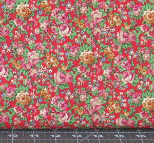 Purple, Gold, Blue, and Green Small Floral on Red Background from Marshall Dry Goods, Country-11Red